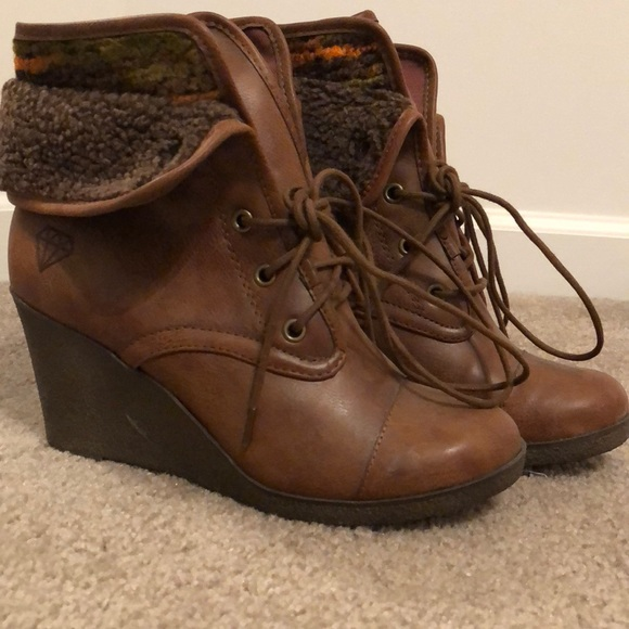 8a18b5cf61e Rock & Candy Shoes | Rock Candy Sabra Faux Fur Wedge Booties | Poshmark